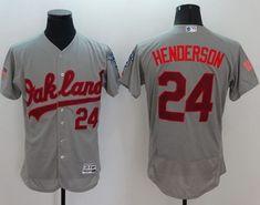 Athletics  24 Rickey Henderson Grey Fashion Stars   Stripes Flexbase  Authentic Stitched MLB Jersey Star 358abb601