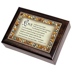 I Corinthians 13:4-6 Italian Style Burlwood Finish Jewel Lid Music Jewelry Box Plays Amazing Grace ** Want additional info? Click on the image.