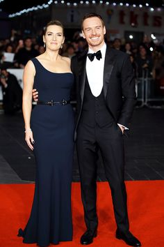 Kate Winslet and Michael Fassbender attends a screening of 'Steve Jobs' on the closing night of the BFI London Film Festival at Odeon Leicester Square on October 18, 2015 in London, England.