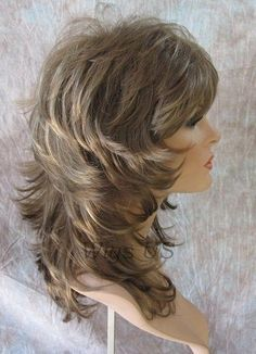 Medium Wig Light Brown Dark Blonde Wavy Multi Layers Choppy Bangs Volume USA