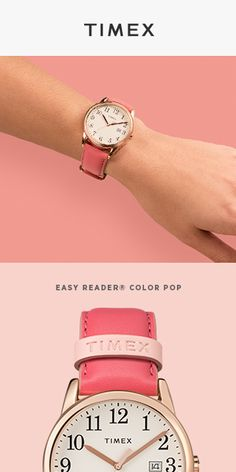 Easy Reader Color Pop Collection - A fresh feminine approach to our favorite 1977 classic. - June 29 2019 at Easy Reader, Timex Watches, Pop Collection, Amazing Watches, Thing 1, Pink Accents, Me Time, Fashion Watches, Pretty In Pink