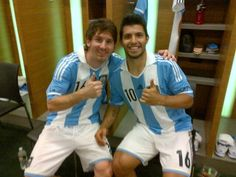 "Leo Messi and Sergio ""Kun"" Agüero Kun Aguero, Trevor Noah, Football Boys, World Cup 2014, Lionel Messi, Pop Art, Soccer, The Incredibles, Inspiring People"