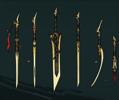 Set of golden weapons made for the most skilled of fighters Fantasy Blade, Fantasy Sword, Fantasy Armor, Fantasy Weapons, Anime Weapons, Sci Fi Weapons, Weapon Concept Art, Modelos Low Poly, Cool Swords