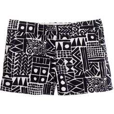 "J.Crew 3"" short in Tiki print ($40) ❤ liked on Polyvore featuring shorts, bottoms, pants, short, color block shorts, color-block shorts, patterned shorts, j. crew shorts and zipper shorts"