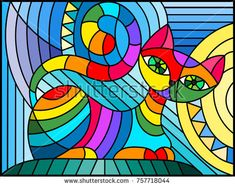 Illustration in stained glass style with abstract geometric cat