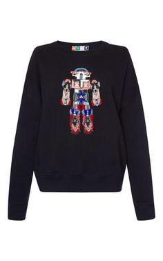 Robot Embellished Sweatshirt by MSGM for Preorder on Moda Operandi