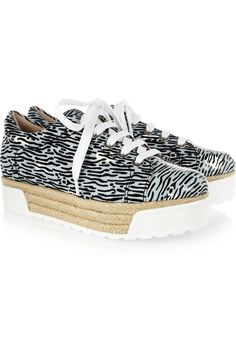 KENZO Printed canvas and patent-leather platform sneakers NET-A-PORTER.COM
