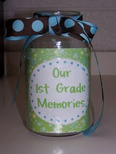 Funky First Grade Fun: Start a memory jar and add memories on strips of paper(classroom job?) throughout the school year.  Compile as list for memory books at end of year.  Keep an electronic version or add to a poster in our classroom - ideas.