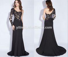 2014 Formal Sexy Beading One Shoulder Cheap Elegant Long Chiffon Ebay Turkish Evening Dress Made in China