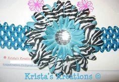 #A7005: Teal Zebra Gerbera; Zebra Rhinestone; Teal Headband https://www.facebook.com/KristasKreationsEtc