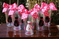 Adorable personalized tumblers for a bridal party.