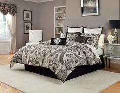 4pc Veratex Black Tan Ayleen Comforter Bedding Set with Shams and Bed Skirt #Veratex #Modern