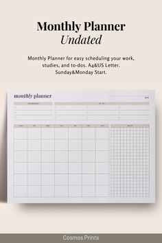 Monthly Planner Undated for easy scheduling your work, studies, and to-dos. Landscape edition with 2 Calendar versions (Sunday and Monday start). #planner #printable #monthly #undated