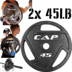 """Olympic Weights Set Barbell Lifting Equipment Plates 45Lb Pair 90 For 2"""" Bar Gym #CAP"""