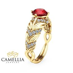 Ruby Leaf Engagement Ring 14K Yellow Gold by CamelliaJewelry