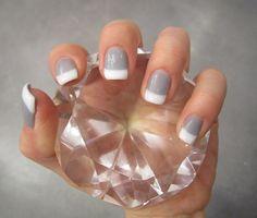 light grey nail w/white tip love itt