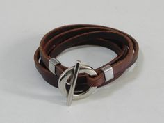 Brown Wrap Leather Bracelet Leather Cuff Bracelet with Metal Toggle Clasp by BeadSiam on Etsy