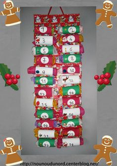 Paper Toilet Roll Advent Calender by nounoudunord Advent Calenders, Diy Advent Calendar, Christmas Mom, Christmas Makes, Toilet Roll Craft, Crafts For Kids, Diy Crafts, 242, Theme Noel