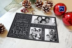 Do it your self Chalkboard Photo Christmas Cards. Great for photographers and do it your selfers. This is a Photoshop Template that you can edit at home by adding your own photos, family name and printing yourself.  At #wolcottdesigns we offer a few different styles.