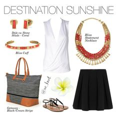 Stella & Dot | Destination Sunshine | If you're traveling to warmer weather this winter, travel in style with our new spring collection. Shown: Getaway - Black & Cream Stripe, Bliss Cuff, Bliss Necklace, Deja Vu Stone Studs Coral