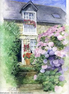 ✿Flowers at the window & door✿ Anne Marie Patry-Belluteau Watercolor Artists, Watercolor Landscape, Watercolor Flowers, Watercolor Paintings, Watercolour, Painted Cottage, Cottage Art, Art Themes, Art World