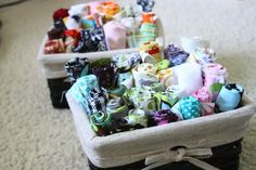 Just roll scraps and display in small baskets Fabric Organization Round-Up | The Thinking Closet