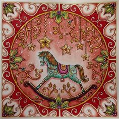 Johanna Basford's Christmas coloring book. Carousel Horse. Sally would love this.