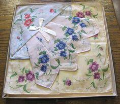 Unused Box of Vintage Printed Pastel Cotton Hankies