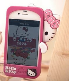 Premium Hello Kitty Silicone Case For iPhone 4/4S -Hotpink