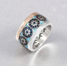 Elit Turkish Jewelry Round Sapphire Zircon 925 Sterling Silver Ring Size 8