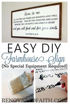 Easy DIY Farmhouse Sign #farmhousesign #diysign #renovatedfaith