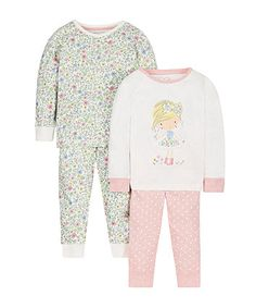 Girl and Floral Pyjamas - 2 Pack