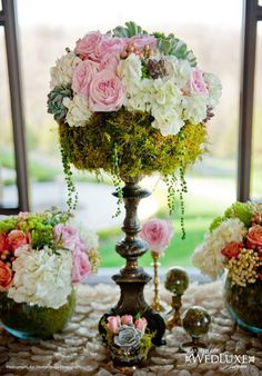 Pedestal centerpiece with moss, roses and hydrangea and succulents ~ we ❤ this! moncheribridals.com