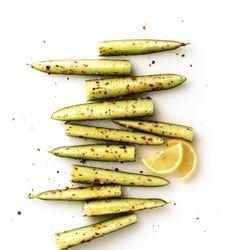 Cucumber with salt, lemon juice and chili flakes