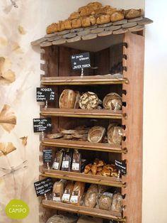 Mama Campo, Madrid Restaurant and organic food for all Madrid Restaurants, Bread Shop, Organic Recipes, Wine Rack, Coffee Shop, Liquor Cabinet, Bakery, Art Deco, Shelves