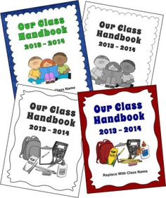 Free Class Handbook Covers to Customize - New for the 2013 - 2014 school year!