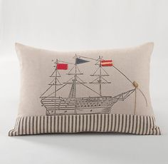 Appliquéd Ship Decorative Pillow Cover & Insert | Decorative Pillows | Restoration Hardware Baby & Child