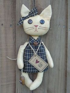 Primitive Country Grungy Tan Cat Doll Wood Mouse Black Homespun Rusty Prim Tag