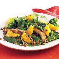 Recept - Spinazie-linzensalade met kalkoen en sinaasappel - Allerhande