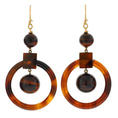 Victorian Tortoise Shell Gold Hoop Earrings | From a unique collection of vintage hoop earrings at https://www.1stdibs.com/jewelry/earrings/hoop-earrings/