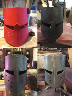 Edit: Link to PDF template . The other day I decided that my three year old son needed a knight helmet for our foam sword fights, so . Diy Knight Costume, Knight Costume For Kids, Lego Knights, Knights Helmet, Armadura Medieval, Cosplay Armor, Cosplay Diy, Crusader Helmet, Carton Diy