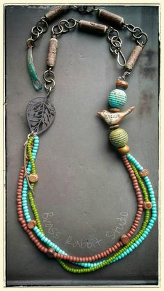 Bohemian long necklace mixed media necklace by BrassRabbitStudio with a kylie parry bird bead #handmade #boho #eclectic