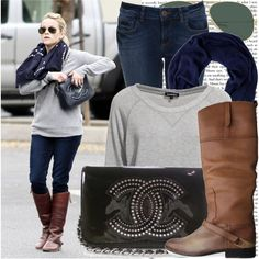 I could do this...sweatshirt and jeans with cute boots and a scarf...easy!