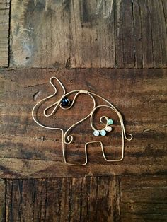 Wire wrapped elephant pendant | Rhinestone | Colorful | Handmade jewelry | Animal