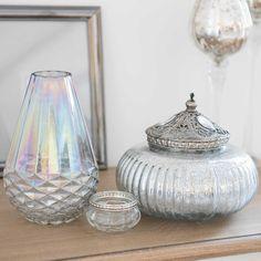 ÉLÉONORE silver-coloured round glass box | Maisons du Monde