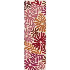 Hand-hooked Lana Floral Polypropylene (Pink-(2'6 x 8')), Pink, Size 2' x 8'