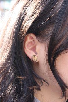 Coffee Bean Earrings /Golden by episkeyartful on Etsy