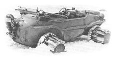 A type 166 VW Schwimmwagen with wheel mounted snow paddle adapters.