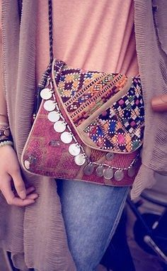 Tribal Print Bag With Oversize Sweater