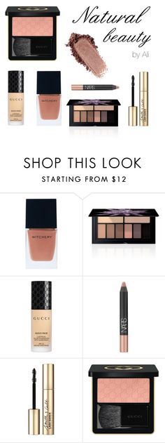 Hey Nude! :) by alihorin on Polyvore featuring beauty, Gucci, Smashbox, Smith & Cult, NARS Cosmetics, Witchery, makeup and nude